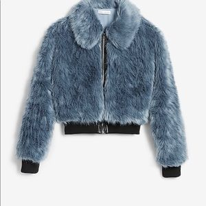Blue faux fur bomber jacket by Express